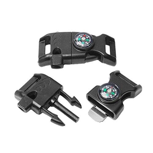 5x Pack Schwarz 5/20,3cm Kompass Flint Schaber Fire Starter Whistle Schnalle Kunststoff Paracord Armband Outdoor Camping Notfall Überleben Travel Kits # flc158-fwc (schwarz)