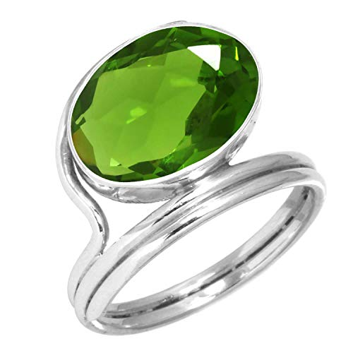 Peridot Quartz Ring 925 Sterling Silver Handmade Jewelry Size Q (99018_PER_R12)