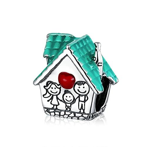 LIJIAN DIY 925 Sterling Jewelry Charm Beads Happy Family Sweet House Metal Hacer Originales Pandora Collares Pulseras Y Tobilleras Regalos para Mujeres