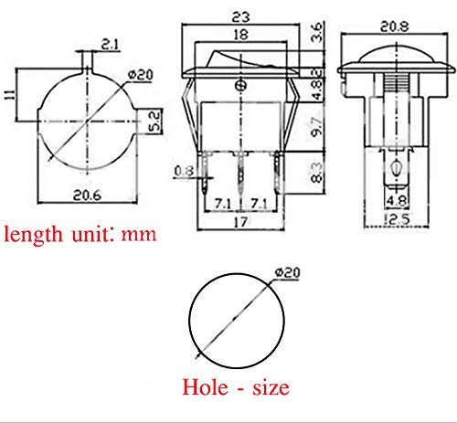 QOFOWIN Rocker Toggle Switch,12V 20A/24V 15A 3Pin Dot green Light ...