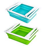 Fridge Drawer Organizer, 2 Pack Retractable Drawer Refrigerator Storage Box,Unique Design Pull Out Bins for Food Fresh Sorting Egg Tray,Fit for Fridge Shelf Under 0.5 inch