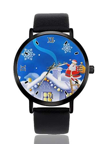 PALFREY Weihnachtsmann Schornstein Geschenk Armbanduhren Business Casual Sport Quarzuhr für Damen Herren Wasserdicht Unisex Uhr