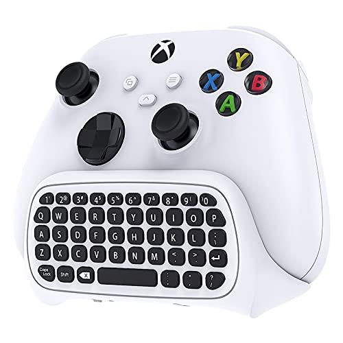 Wireless Keyboard Chat Pad für Xbox Series X/S/für Xbox One/für Xbox One S Controller, MENEEA Mini Game Keypad mit Audio/3.5mm Headset Jack & 2.4Ghz Receiver Zubehör für Game Controller(Weiß)