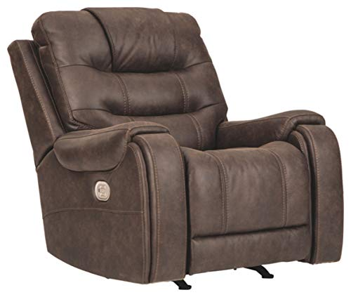 Signature Design by Ashley Yacolt Power Recliner with Adjustable Headrest, Brown