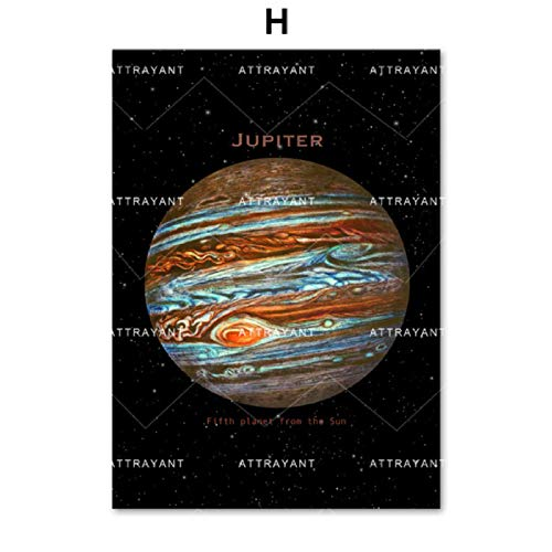 Nueve planetas Moon Solar System Galaxy Wall Art Canvas Painting Nordic Posters And Prints Wall Pictures For Living Room Decor H 50 * 70cm
