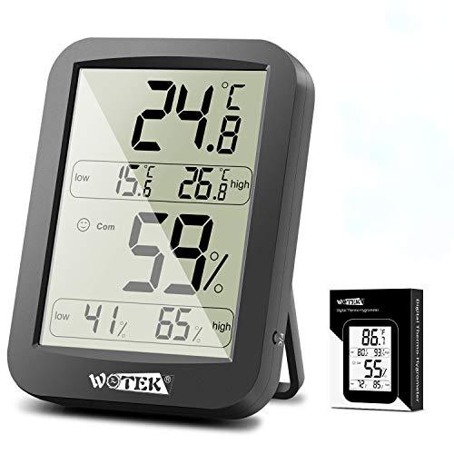 Thermometer Hygrometer Innen Ausen Digital Raumthermometer Temperatur und Luftfeuchtigkeit Tragbares hydrometer feuchtigkeit mit Hohen Genauigkeit,für Wohnzimmer,Büro,Babyzimmer,Abstellraum schwarz