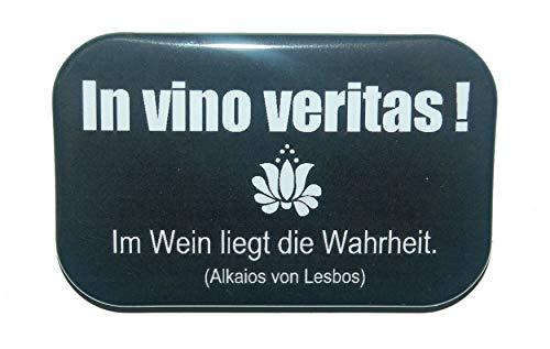 Magnet Kühlschrankmagnet Rechteckig eckig groß ca. 7 x 4,5 cm gute Haftung Motiv: Spruch Latein lateinisch Redewendung Zitat Geschenk Wein