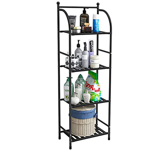 FKUO 4 Tier Bathroom Storage Open Shelf Unit, Free-Standing Metal Corner Rack Shelving for Kitchen, Living Room, Hallway (Black, 4 Tier)