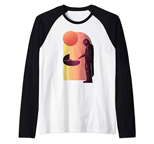 Star-Wars-The-Mandalorian-The-Child-Discovery-Silhouette-Camiseta-Manga-Raglan