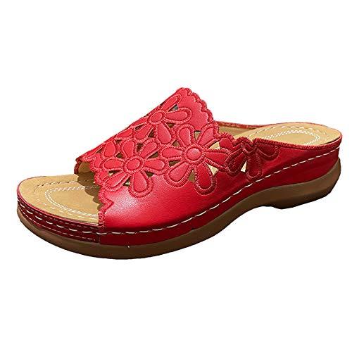 Damen Sandalen Keilsandalen Hohl geschnitzt Slingback Peep Toe Slip On Wedge Bequeme Beach Strandsandale Hausschuhe Slippers Sommer Outdoor Sandals Freizeitschuhe(2-Rot/Red,40)