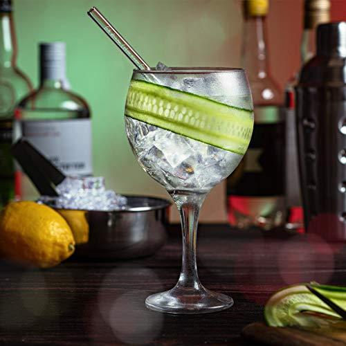 Halm Glasstrohhalme Gin Sprüche Edition 6X 20cm mit gravierten Gin-Sprüchen in Deutsch Strohhalm Trinkhalm Glasstrohalm Gin-Tonic Geschenk - 6