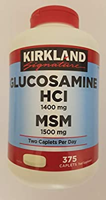 KIRKLAND Signature Glucosamine HCI 1400 mg and MSM 1500 mg Food Supplement, Two Caplets Per Day, 375 Caplets