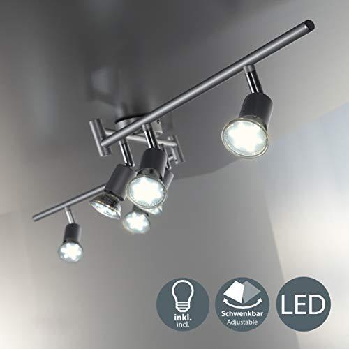 B.K.Licht I schwenkbare LED Deckenleuchte I 6-flammiger Deckenspot inkl. 6x 3W GU10 Leuchtmittel I warmweiße Lichtfarbe I 6x 250lm Deckenlampe I Wohnzimmerlampe I Länge: 1,2m