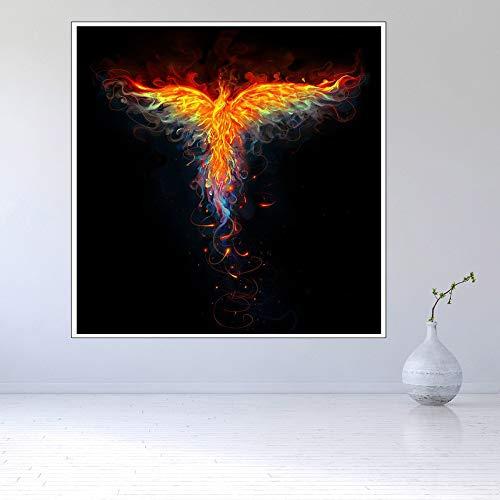 (Sin Marco) Arte Moderno para Colgar en la Pared Animal Fire Phoenix Artist Residence Pintura al óleo Decorativa 60x70cm