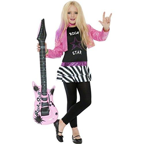 NET TOYS Rockstar Mädchen Kostüm Popstar Kinderkostüm M - 130-143 cm 7-9 Jahre 80er Jahre Rockerin Kinderverkleidung Karneval Mädchenkostüm