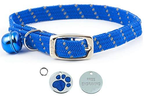 ANCOL - Collare per gatti, colore blu, elastico, con elementi riflettenti, con medaglietta identificativa con stampa di zampa glitterata, incisione personalizzabile