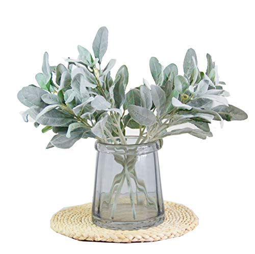 Skyseen 8Pcs Artificial Lamb's Ear Leaf Flocked Lambs Ear Leaves for Home Wedding DIY Craft Floral Arrangement
