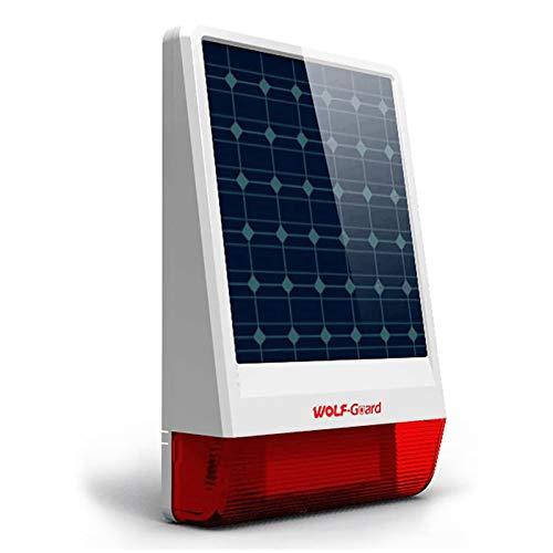 Sirena wireless Wolf-Guard JD-W06, flash stroboscopico LED solare da esterno 433 MHz come deterrente Plus, sirena live 110dB, 12x7 pollici