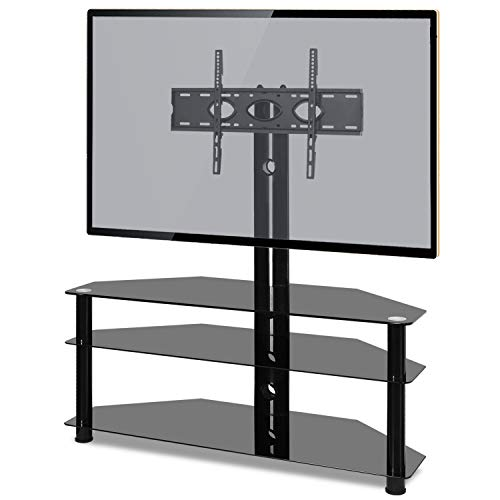 RFIVER Universal Corner TV Stand for 32 40 42 43 49 50 55 65 70 inch TV, Swivel TV Floor Stand with Tempered Glass Shelves max VESA 600x400mm