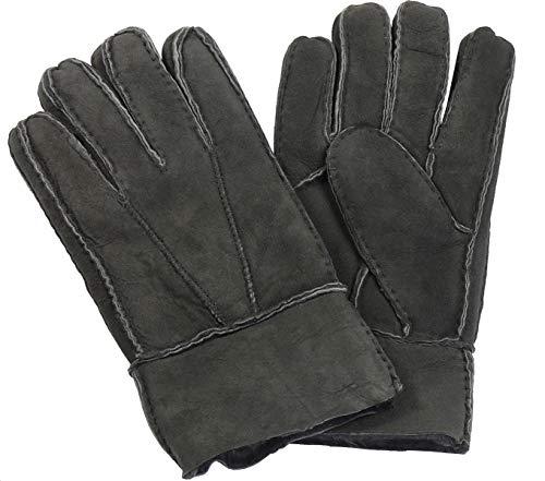 Harrys-Collection Damen Herren Handschuh aus Echtem Lammfell, Farben:dunkelgrau, Handschuhgröße:L