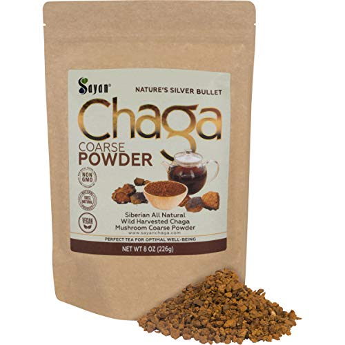 Sayan Siberian Raw Ground Chaga Powder 8 Oz (226g) - Wild Forest Mushroom Tea, Powerful Adaptogen Antioxidant Supplement, Support for Immune System, Digestive Health and Helps Inflammation Reduction