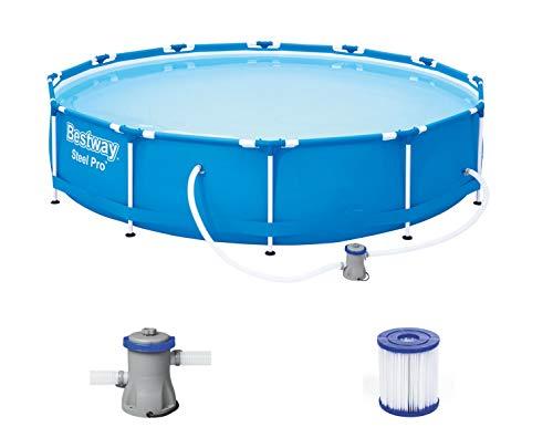 Bestway Steel Pro Framepool Set, rond, met filterpomp 366 x 76 cm zwembad, blauw