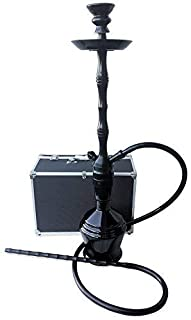 The 30'' Black Panther Aluminum Hookah Shisha with a Premium Carry Case & Silicone Hose (1 Hose W/Case)
