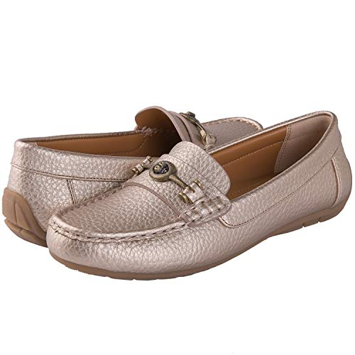 GLOBALWIN Women's Gold Slip On Penny Loafers Driving Moccasins 9.5M