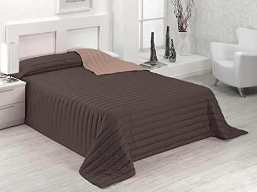 SABANALIA - Colcha Bicolor Multiuso Tutto (Disponible en Varias Medidas y Colores) - Cama 150, Chocolate/Tierra