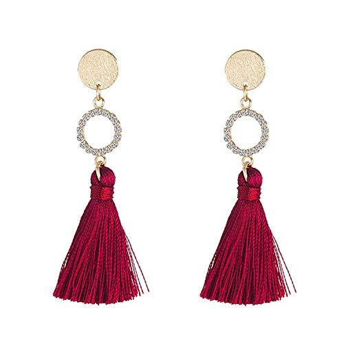 Katylen Earring Dieser Wein ist EIN Red Earbud Ohrring mit Zirkon Mädchen Ohrringe, feminin, minimalistisch und vielseitig rot