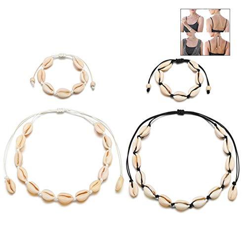 XLKJ 4 Piezas Bohemio Collar de Conchas, Joyería Gargantilla de Seashell de Playa Hecho de Mano Natural Ajustable, Tobillera de Conchas Pulseras Accesorios para Mujeres Chicas.