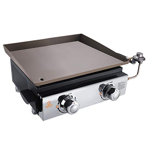 OT QOMOTOP 18-inch Gas Griddle, Outdoor Flat Top Grill, 2 Burners Camping Grill, Party Grill with Stainless Steel Front Plate and Front Grease Trap, Flat Top Grill