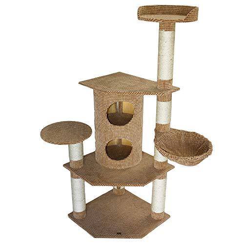 Bontoy Kratzbaum Betty Pro in braun I 65 x 65 x 150 cm I mit 12 cm Sisalstämmen I großes Katzenhaus I auch für große Katzen geeignet I Stabiler Katzenkratzbaum