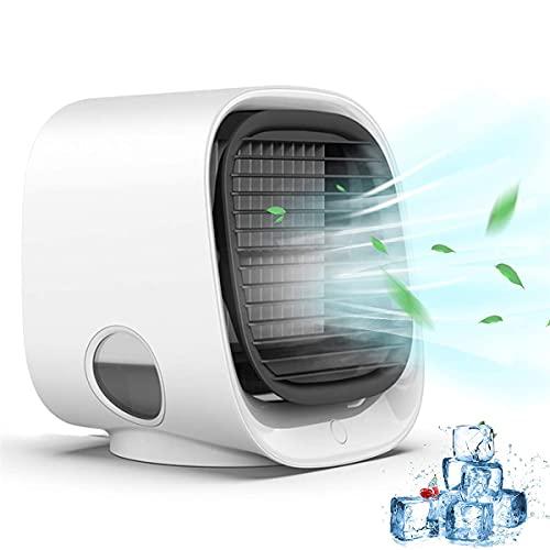 ZEMENG Aire Acondicionado portátil, Ventilador de refrigerador de Aire Tranquilo, Aire Acondicionado USB Ventilador 7 velocidades Coloridas LED luz Super Tranquilo para el hogar, Oficina, Outdoo