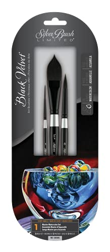 Silver Brush Limited WC-3000S Black Velvet Watercolor, Gouache Brush Set, Set of 3 Brushes, Script Liner Size 1, Oval Wash 3/4 Inch, and Round Brush Size 8