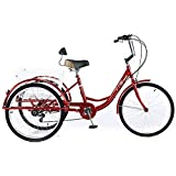 OHHG Triciclo para Adultos 24', 7 velocidades, 3 Ruedas, Soporte Carga, 150 kg, Bicicleta Ajustable para Adultos, Bicicleta Pedal Canasta Blanca para Deportes al Aire Libre, Compras para