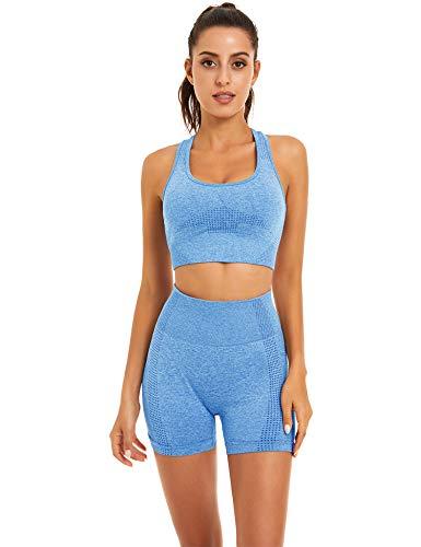 Toplook Women Seamless Yoga Workout Set 2 Piece Outfits Gym Shorts Sports Bra (Light Blue, Small)