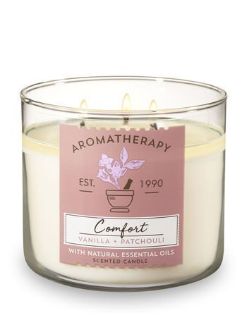 Bath and Body Works 3 Wick Scented Comfort Aromatherapy Candle Vanilla and Patchouli 14.5 Ounce with Natural Essential Oils