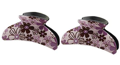 Ensemble de 2 coréen florale cheveux pinces, Pourpre