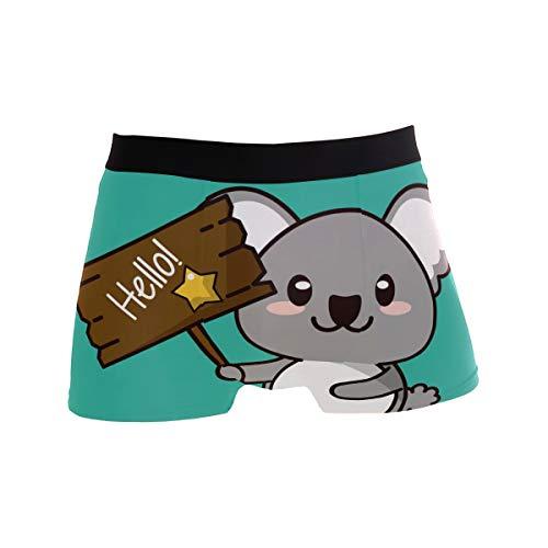 ALARGE Herren Boxershorts Hello Animal Koala Kurze Unterwäsche Soft Stretch Unterhose für Männer Jungen S-XL Gr. L, multi