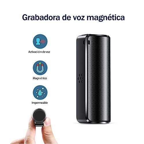 Grabadora de Voz 16GB, Magnético Grabadora con Activación de Voz Grabación de Hasta 15 Días, Ideal para Lecciones, Reuniones, Entrevistas, Hasta 192 Horas, Resistente al Agua