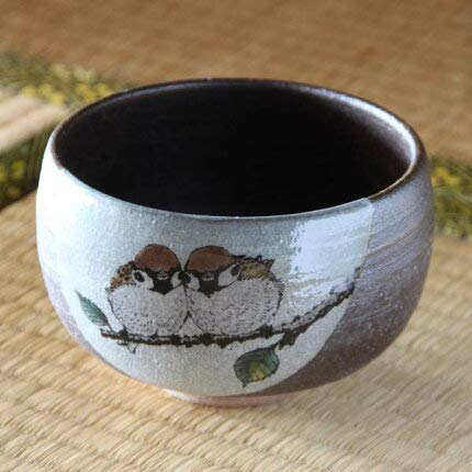 Review Japan Kutani NAKAMURA Toshito, Matcha Bowl, G-121 Two Little Sparrows