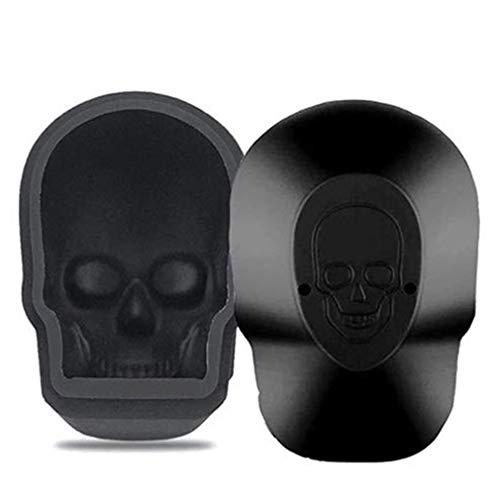 Single Hole Big Skull Ice Tray 4 Grid Silicone Ice Mold Skull Cake Mould black 2PCS L