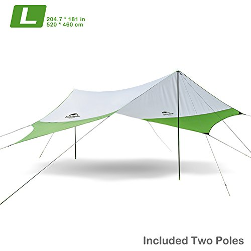 Topnaca Naturehike Lightweight Camping Tarp Shelter Beach Tent Sun Shade Awning Canopy with Tarp Poles, Portable Waterproof Sun-Proof 204.7x181/157.5x137.8 for Hiking Fishing Picnic (Green&Grey-L)