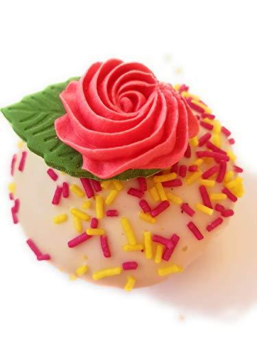 12brillante ROSA ROSA remolinos azúcar comestible decoración para