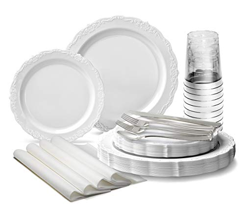 OCCASIONS  200 Piece set 25 Guests-Vintage Wedding Party Disposable Plastic Plates cutlery -25 x 10  25 x 75  Silverware  Cups  Napkins Verona White