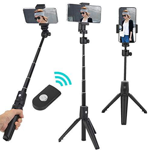 Selfie Stick Tripod, 2 in 1 Selfie Stick Tripod Stand met afstandsbediening voor Android voor iOS mobiele telefoon, Bluetooth-afstandsbediening, 360 ° rotatie, verstelbare mobiele telefoonclip
