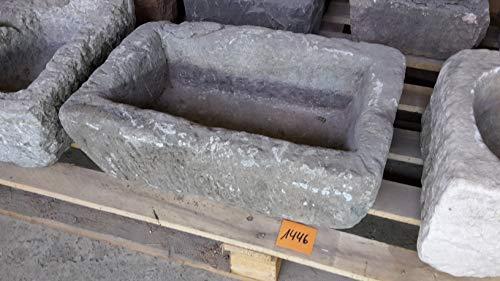 Der Naturstein Garten Alter Trog aus Granit 46 cm lang Brunnen Steintrog - G1446 Granittrog Waschbecken