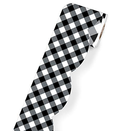 Schoolgirl Style Woodland Whimsy Rolled Scalloped Border—Black and White Gingham Rolled Border for Bulletin Boards, Desks, Lockers, Homeschool or Classroom Decor (36 ft) (108456)