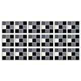Mikilon Tile Stickers for Kitchen & Bathroom Waterproof Anti-Mold Backsplash 4x4 Inch Stone Mosaic Tile Sticker Decals for Walls Stairs Deacoration 18PCS Wallpapers (Gray)